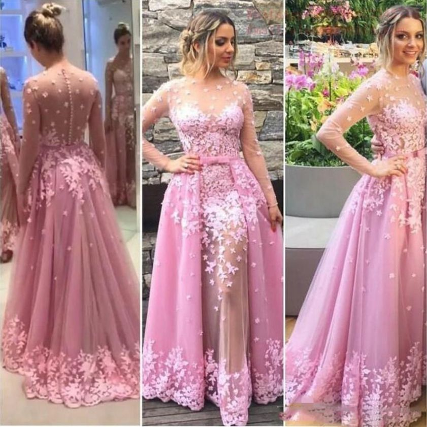 dress, prom dress, lace dress, pink dress, long sleeve dress, long ...