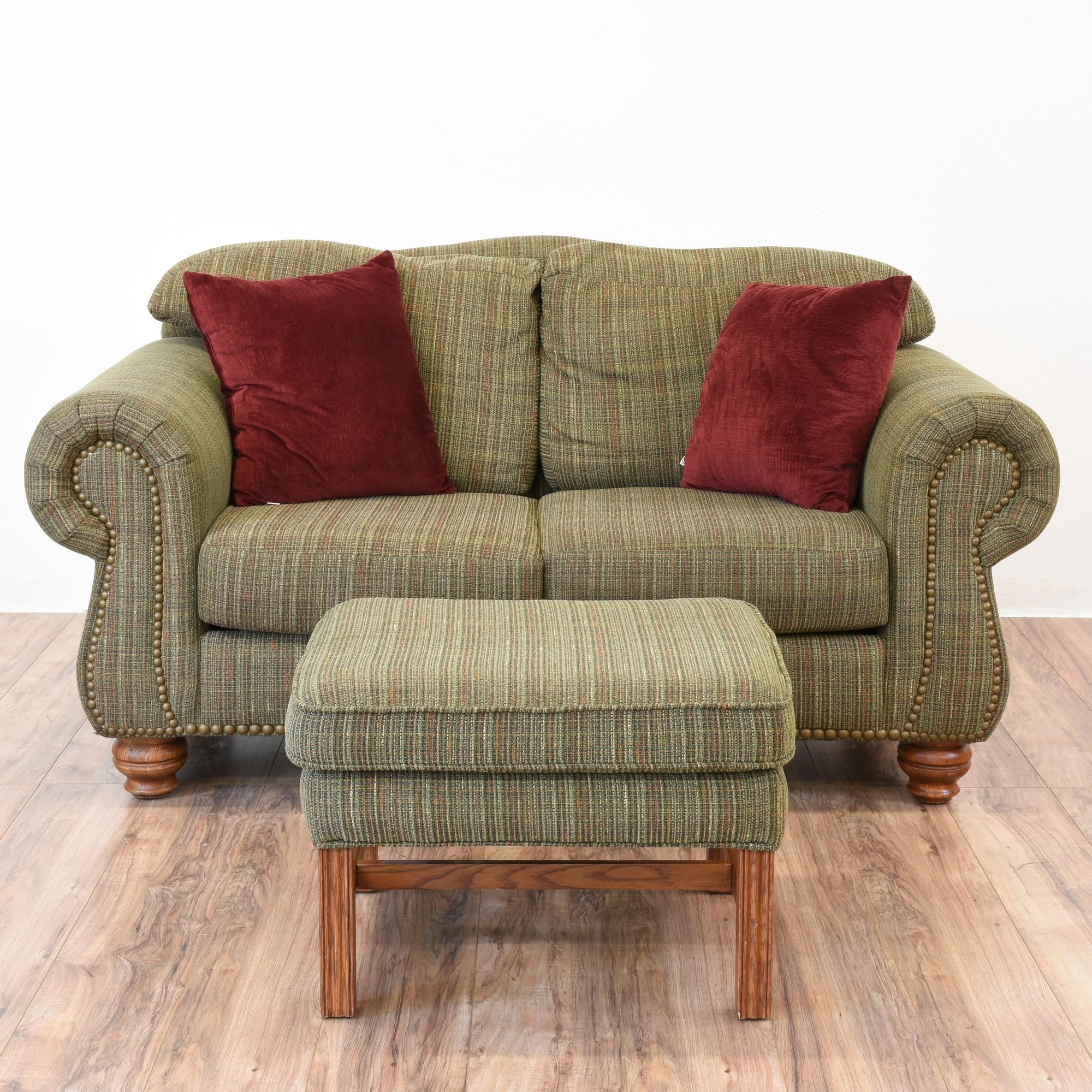 This loveseat and ottoman are upholstered in a durable for Small cream sofa