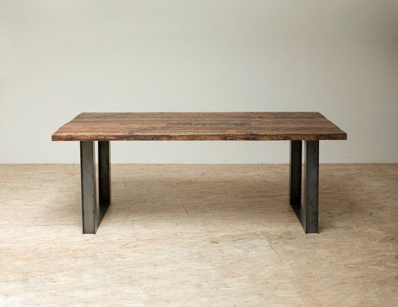 Bold Modern Reclaimed Iron Wood Mt Whitney Dining Table from