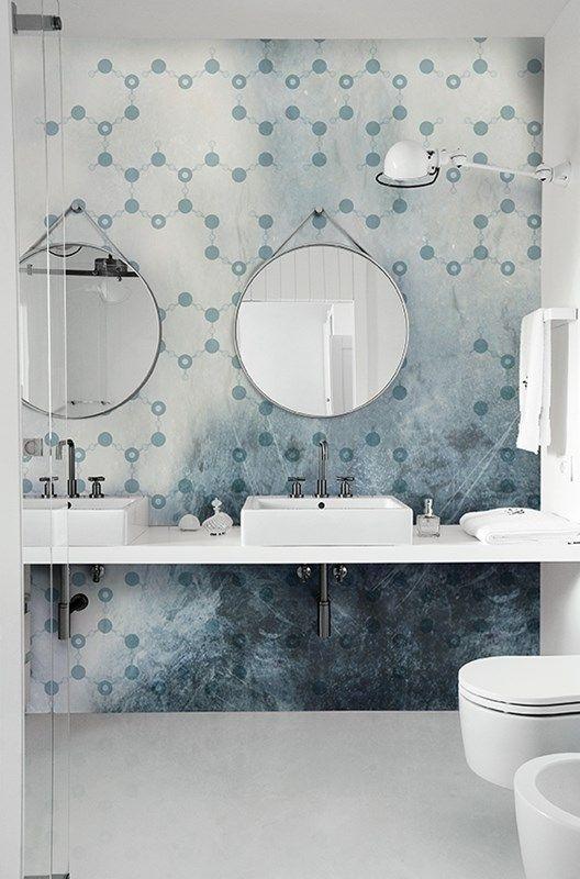 Douche italienne déco - 10 magnifiques papiers peints Contemporary - salle de bain en bleu