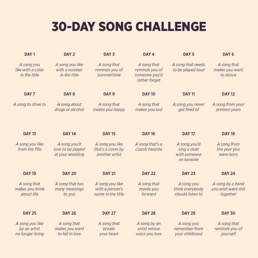 Resultado De Imagen De 30 Day Song Challenge Song Challenge 30 Day Song Challenge Music Challenge