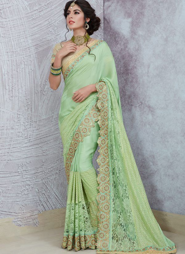 81c5886430 Heavy Silk Fabricated Pastel Green Colored Saree | Sarees | Saree ...