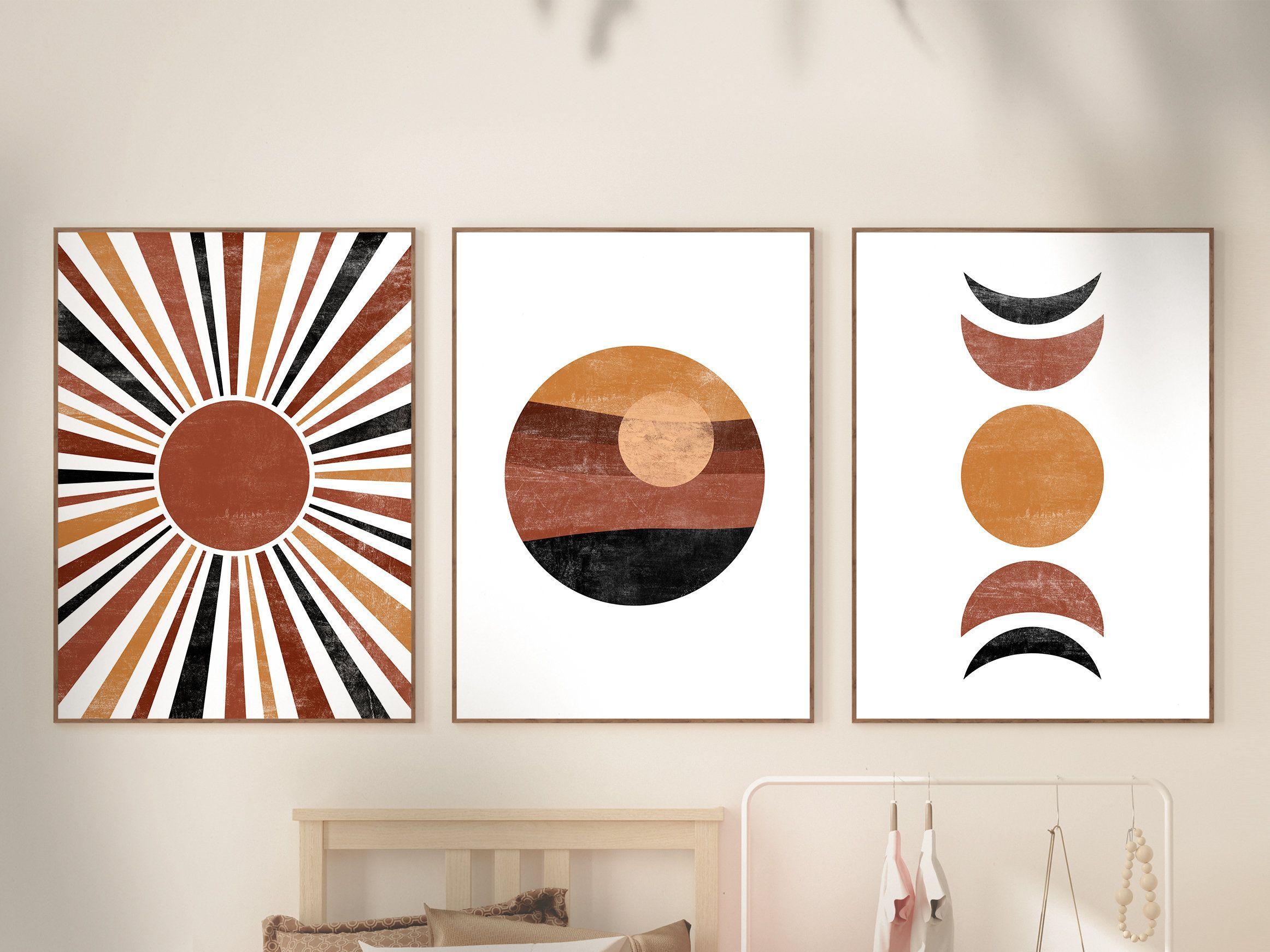 Sun Moon Print Set Mid century Modern Art Set of 20 prints   Etsy ...