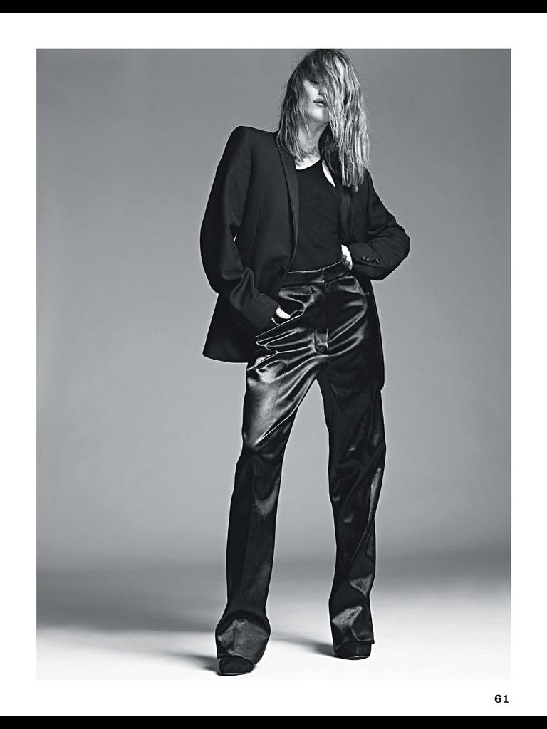 Vanessa Paradis wearing a black tuxedo jacket by De Fursac ...