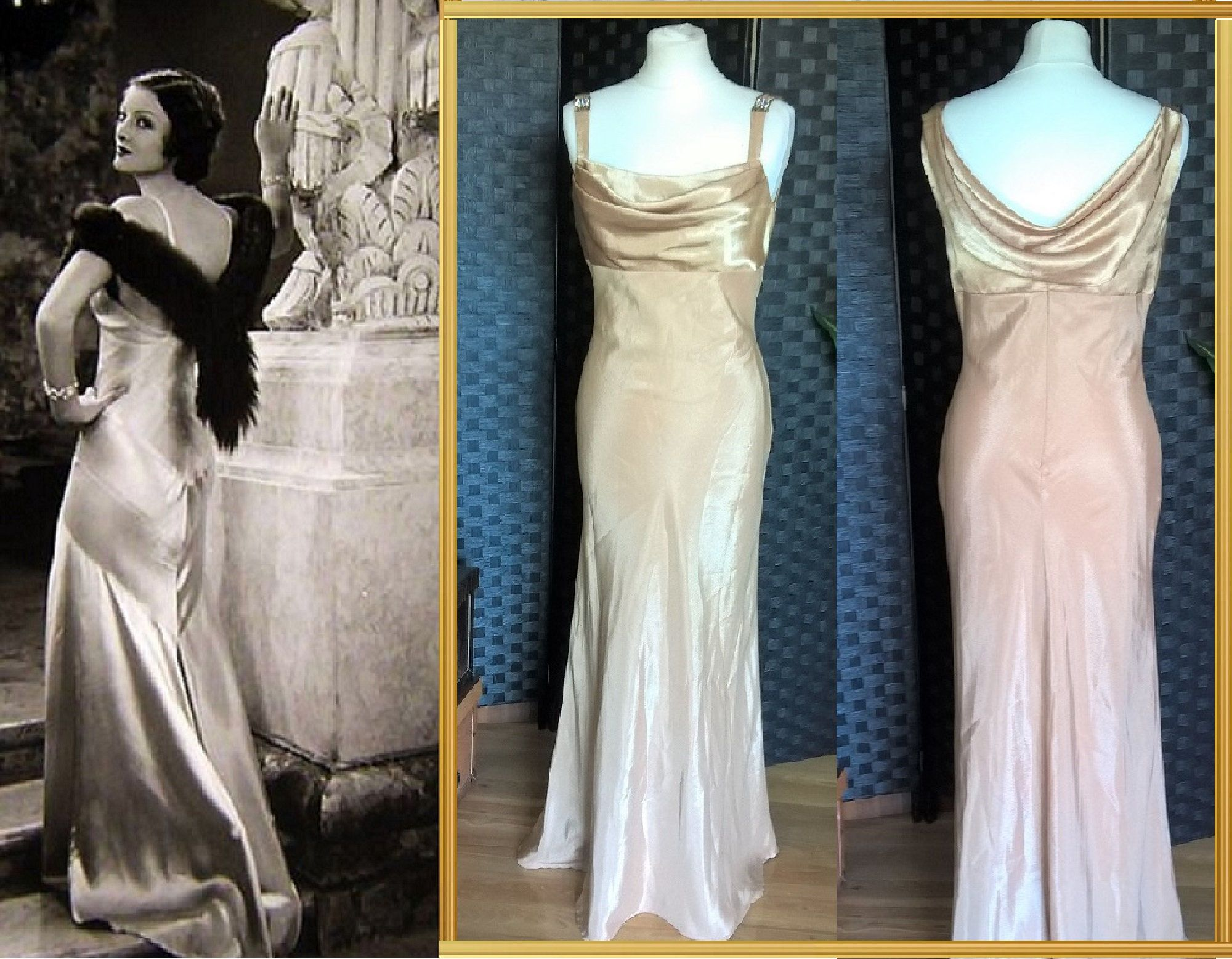 Pink Dress  Satin Dress  Cowl Neck Dress  Bias Cut Dress  Cowl Back Dress  Prom Dress  Ball Gown  1930s Style Dress  Old Hollywood Dress