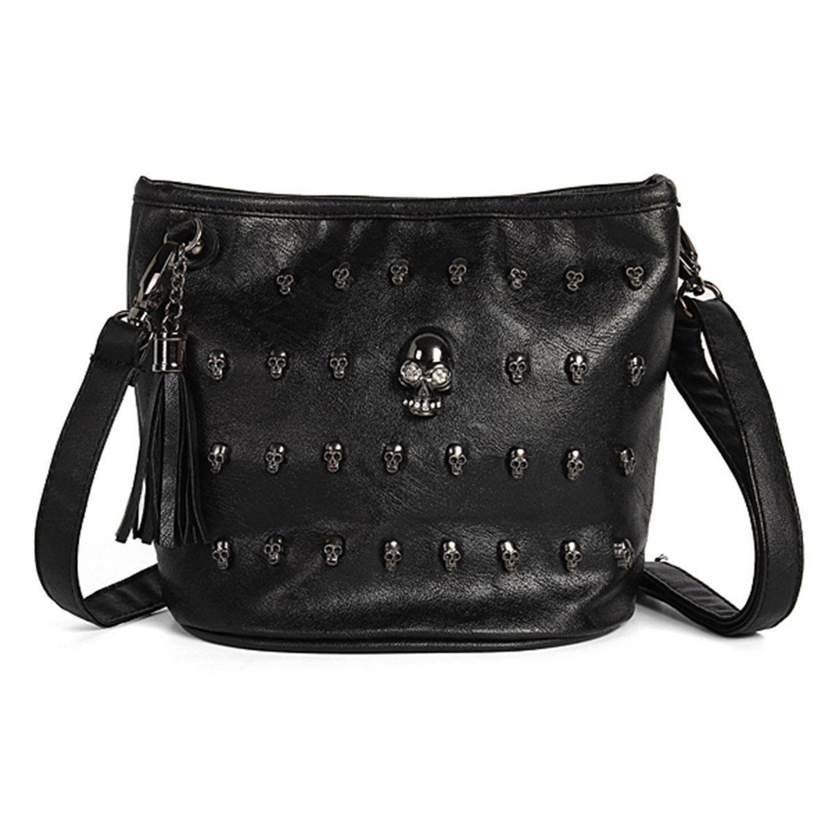 New Fashion Women Shoulder Bag Skull Face Studs Punk Rivet Lady Messenger PU  Leather Goth Coressbaby Bags Tassels Vintage Style  bag  handbags  kids ... fe70bd339607f