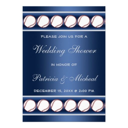 Baseball Player Fan Wedding Shower Blue Grey Invitation