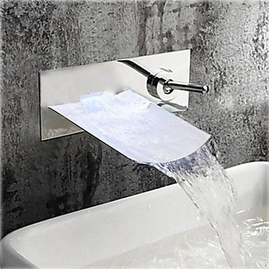 Stylish+Chrome+Finish+Waterfall+Wall+Mount+Bathroom+Sink+Faucet+-+Silver+–+USD+$+96.99