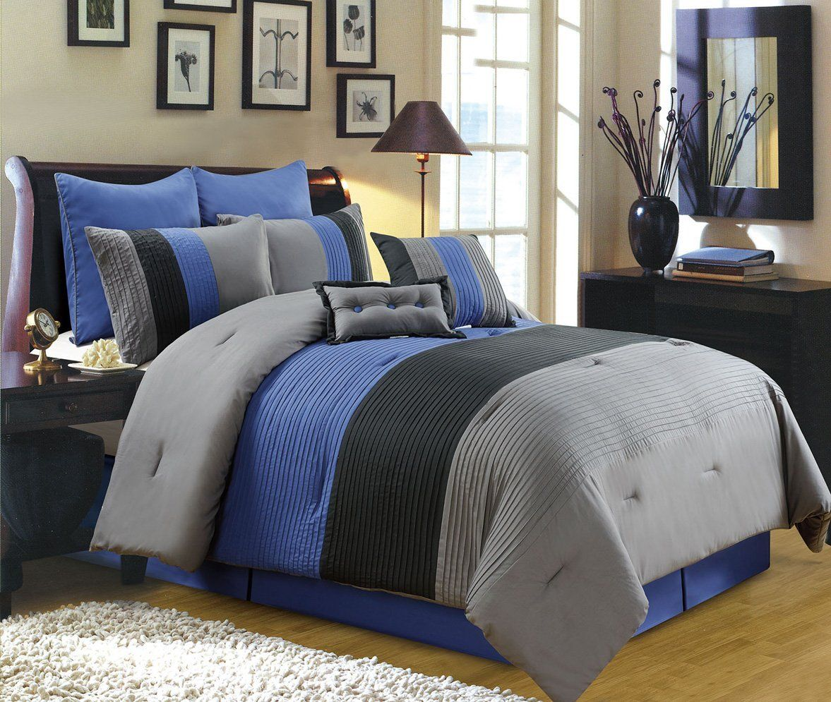 8 piece luxury bedding regatta comforter set navy blue grey black king size bedding