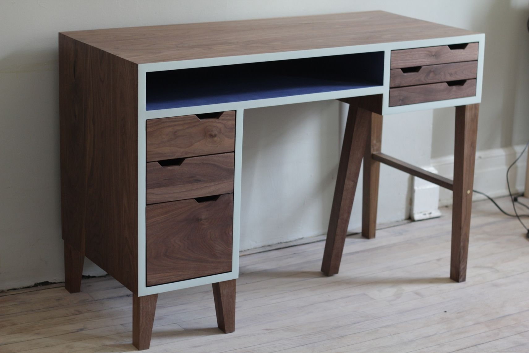 zuri monroe drawer mahogany wood pad modern drawers storage desk leather with office furniture and