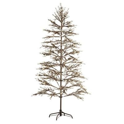 Home Decorators Collection 6 5 Ft Pre Lit Led Brown Winterberry Indoor Outdoor Arti Outdoor Artificial Christmas Trees Artificial Christmas Tree Outdoor Trees