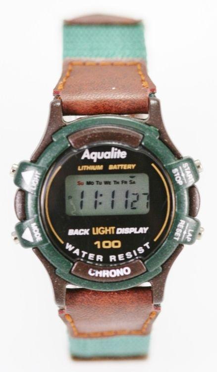 c711dffc5e9 Aqualite Watch Womens Green Brown Chrono Date Light Alarm Stopwatch 30m  Quartz