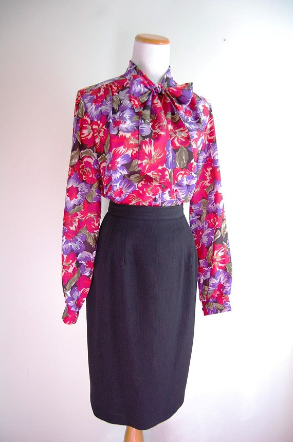 fffd5028072 80s Vintage Clothing, 1980s Bow Tie Blouse, Secretary Blouse, Ascot Blouse,  Red Purple Floral Polyes