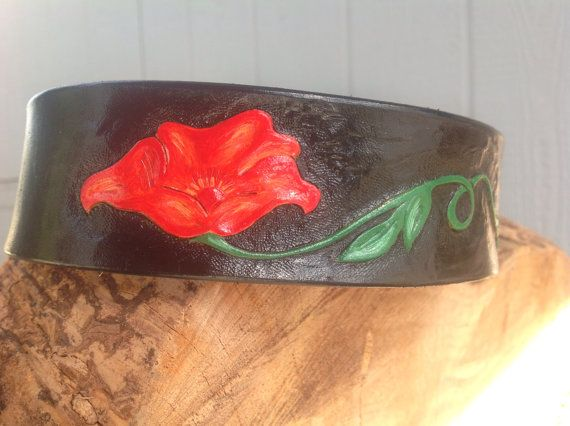 Hand tooled leather dog collar on Etsy, $55.00