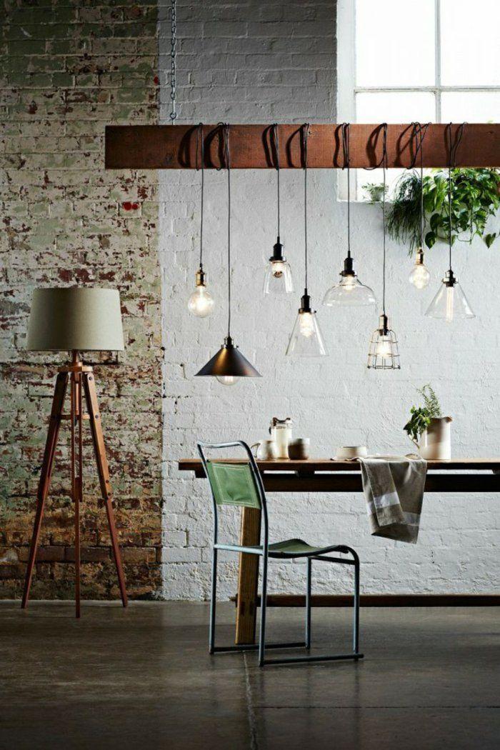 design leuchten pendelleuchten industriell steinwand wohnideen - wohnzimmer design leuchten