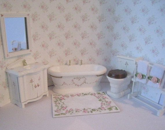 Dollhouse bathroom, Six piece bathroom set, Miniature bathroom ...