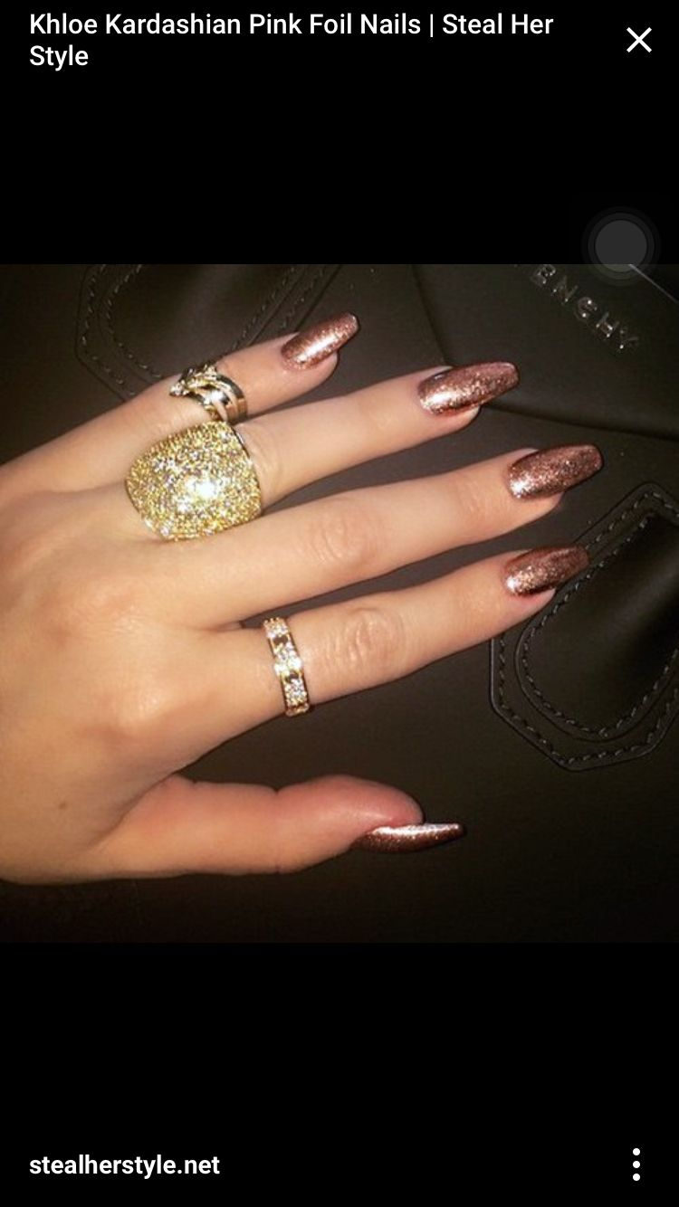 Khloe Kardashian long rose gold coffin nails I want these color ...