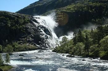 From Husedalen valley, Hardangerfjord in Norway. Beautiful hike with 4 large waterfalls!