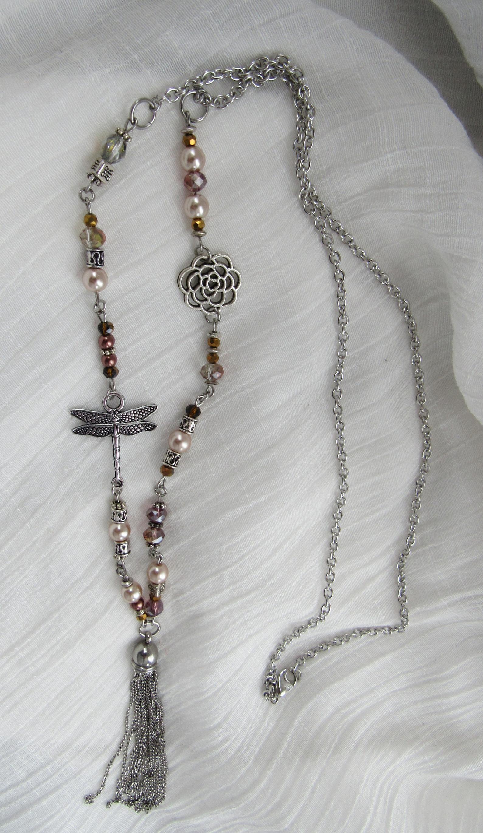 Boho Bohemian | Long Necklace | Tassel Charm | Hippie | Beaded Necklace | Boho Chic | Necklace | Hand Beaded Chain | Stainless Steel Chain