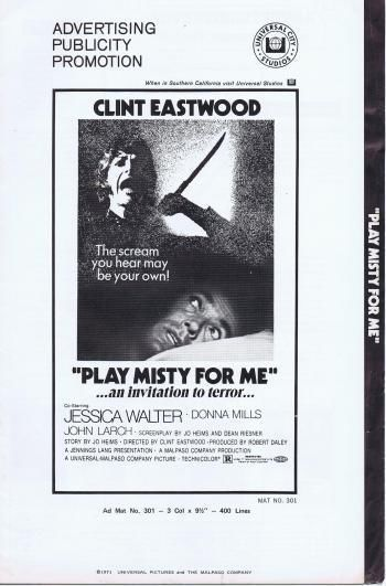 1971 PLAY MISTY FOR ME CLINT EASTWOOD Orig 20 Page Pressbook- NO CUTS!