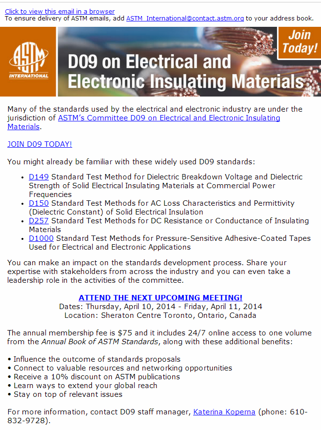 Join ASTM\'s Committee D09 on Electrical and Electronic Insulating ...