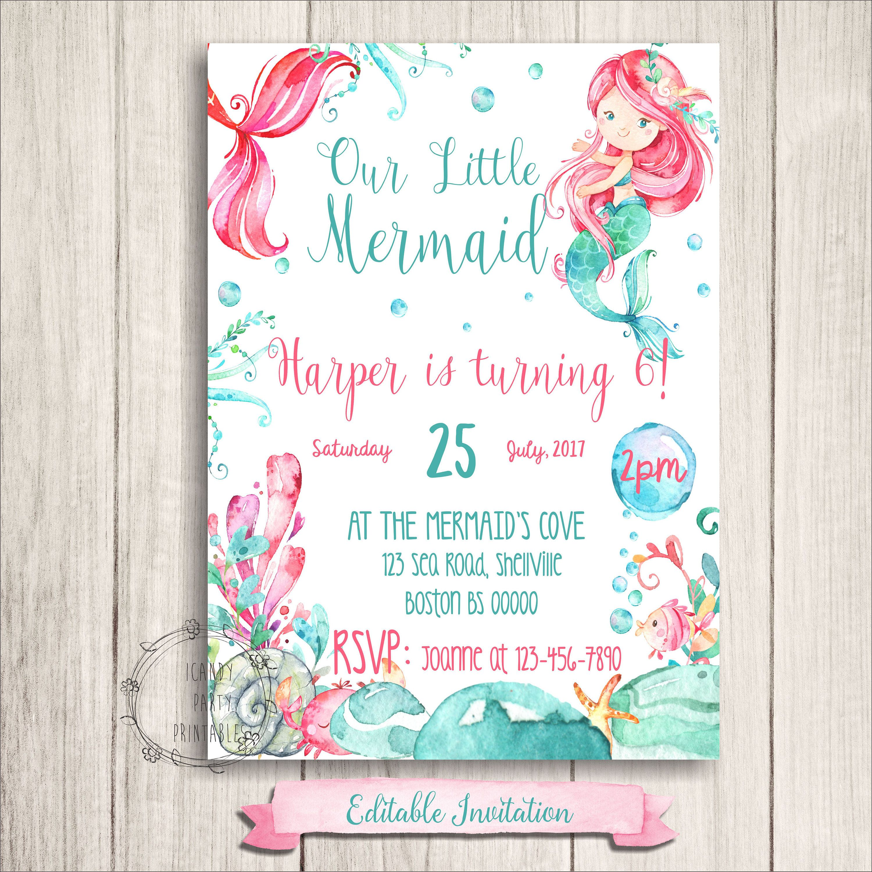 Mermaid Birthday Invitations, Mermaid Printables, Under The Sea ...