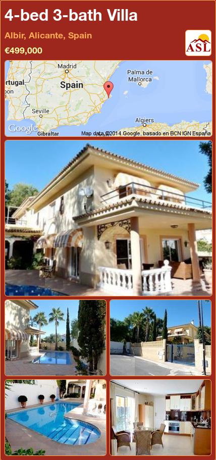 4-bed 3-bath Villa in Albir, Alicante, Spain ►€499,000 #PropertyForSaleInSpain