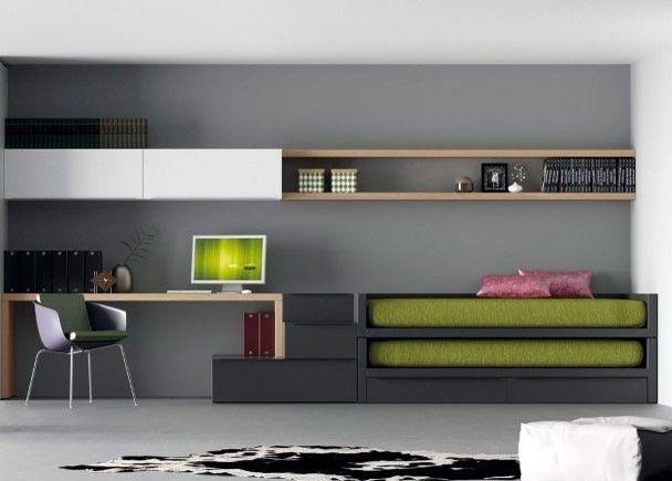 Juvenil minimalista con dos camas novedades pinterest for Muebles minimalistas para dormitorio