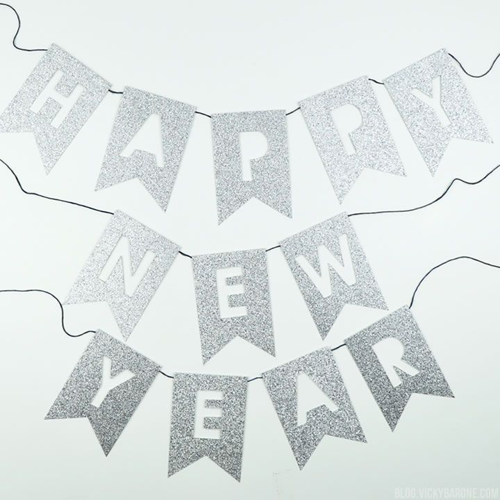 diy happy new year glitter garland vicky barone