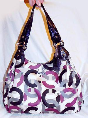 Coach Madison Maggie Chain Link 14420 Op Art Purple Black Shoulder Bag Purse