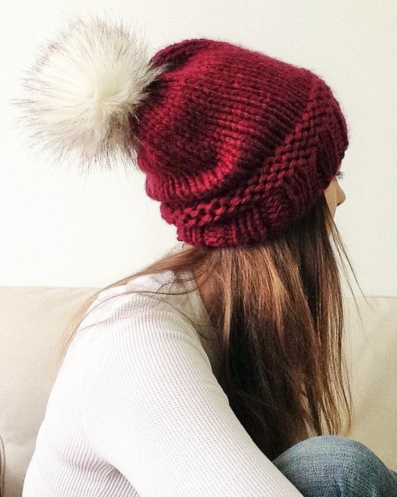 Slouchy Knit Hat in Marsala with Faux Fur Pom Pom by SnowFoxKnits ...