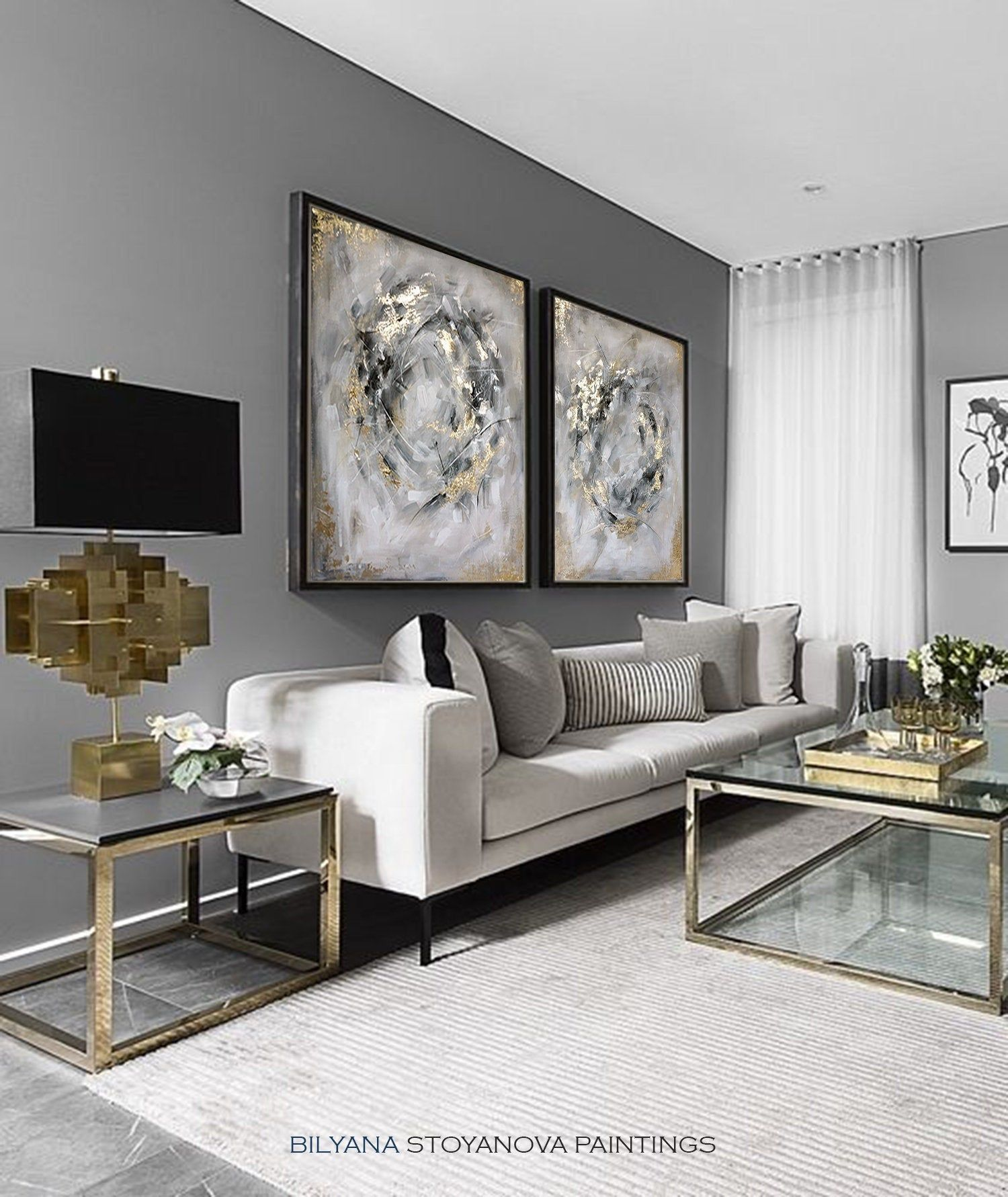 Excited To Share The Latest Addition To My Etsy Shop Circle Of Infinity Large Grey And Gold Abstr Gold Living Room Decor Silver Living Room Gold Living Room