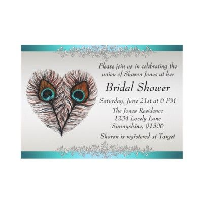 Peacock Bridal Shower Announcement Bridal showers, Peacocks and