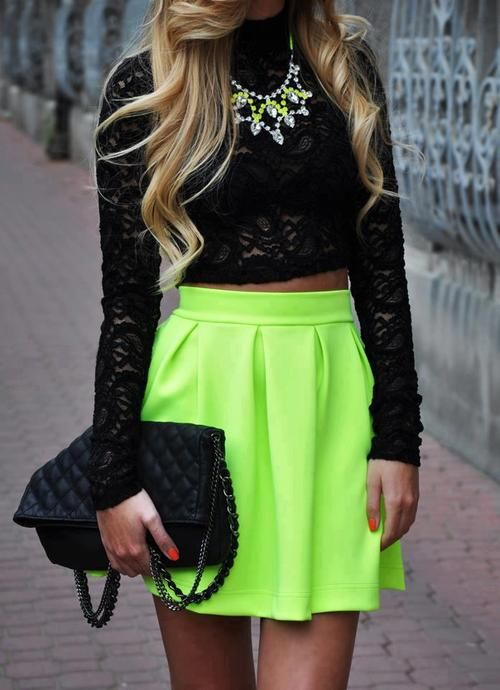 9b64a1564 There are 17 tips to buy this skirt: neon fashion shirt tank top crop tops  black top lace top bag cut blouse neon green black lace chucky necklace  crop tops ...