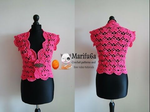 How to crochet vest bolero shrug, Chaleco, for beginners para ...