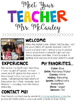 Meet The Teacher Editable Template Meet The Teacher Teacher Your Teacher