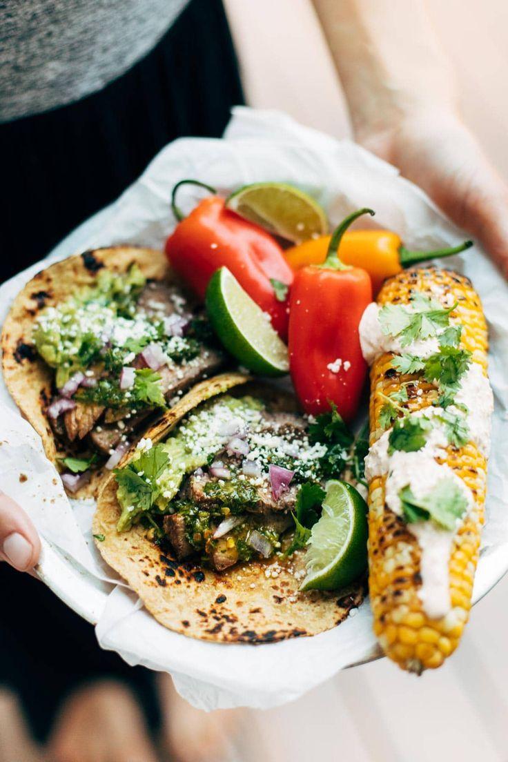 Rockin' Chimichurri Steak Tacos - Pinch of Yum #grilledsteakmarinades