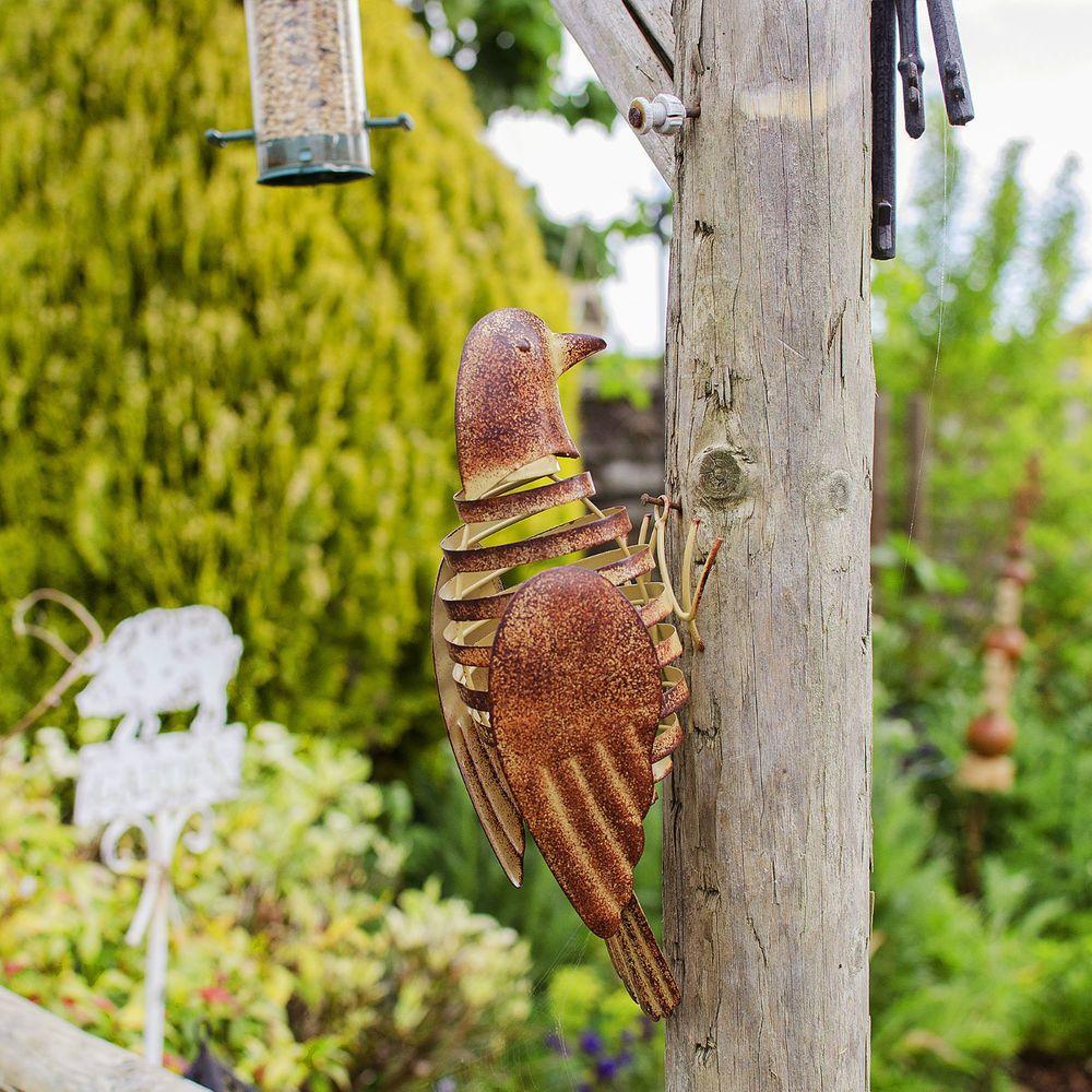 Wall mountable metal bird ornament garden wall art w flapping wings