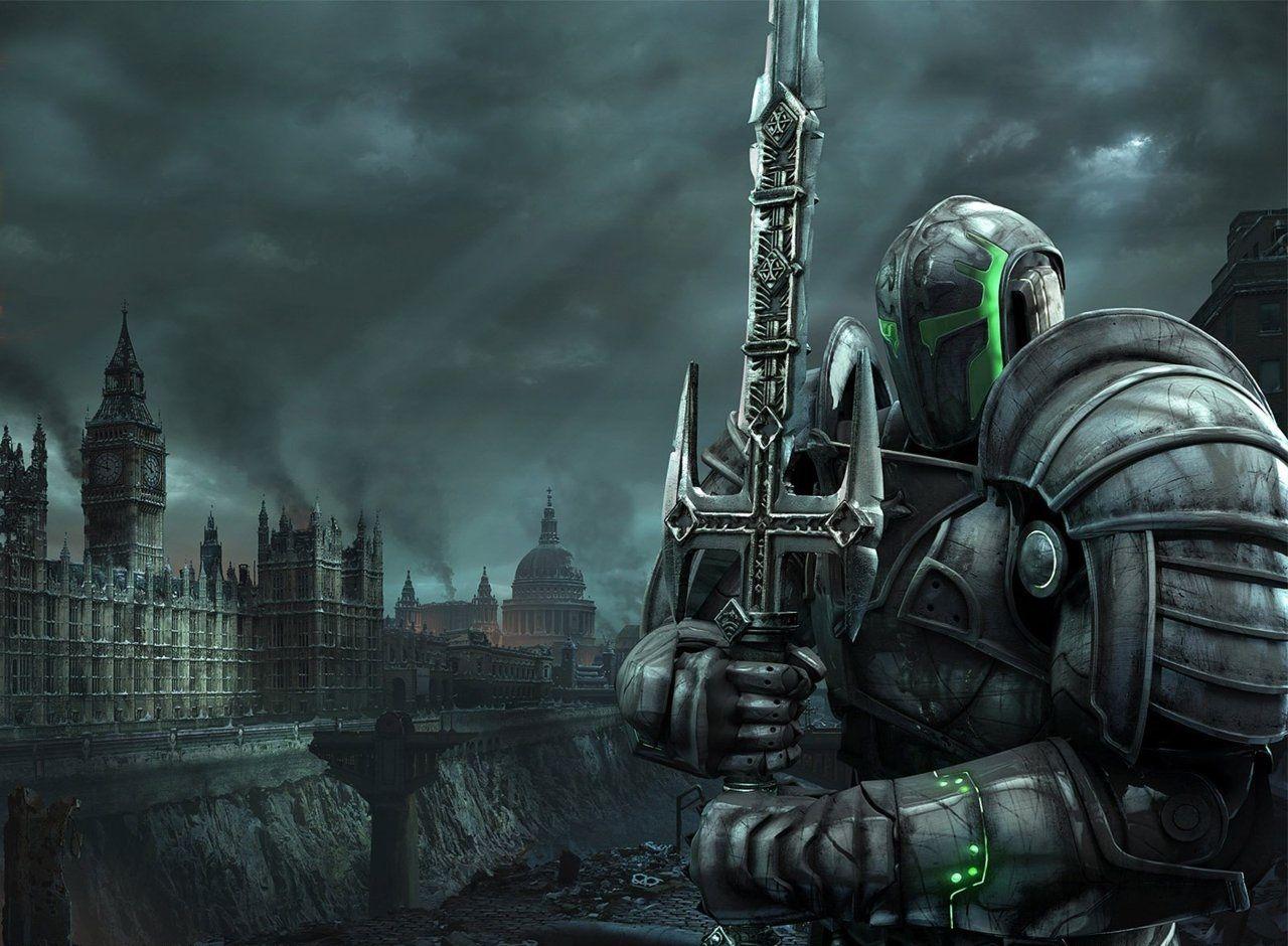 Dark armor Anime knight, London wallpaper, Fantasy