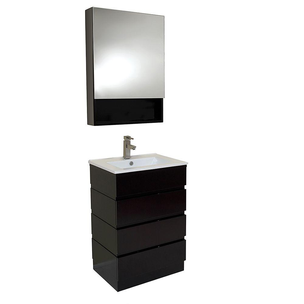 Vanity In Espresso With Marble Top White Basin And Mirrored Medicine Cabinet Fvn6124es The Home Depot