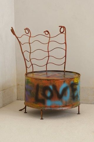 Drum Chair By Ajan Daeng--this is different.  Urban looking right down to the graffiti