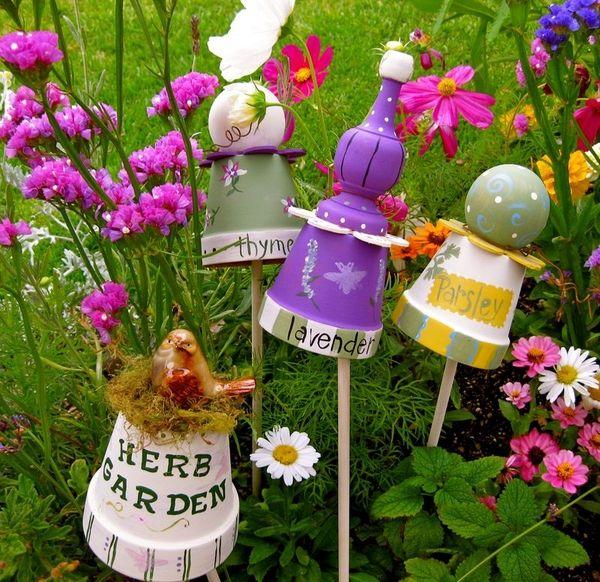 Yard Art Chelle75494 Hof Kunst Selbstgemachte Tongefasse Tontopfe Bemalen