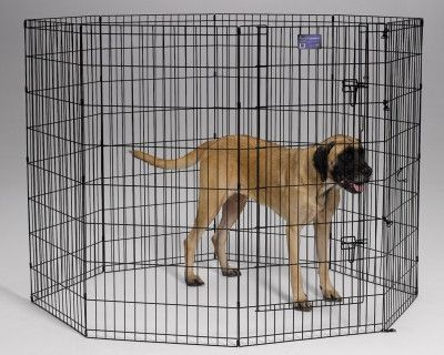 Mid West Black Exercise Pet Pen 24x48 8 Panel Dog Playpen