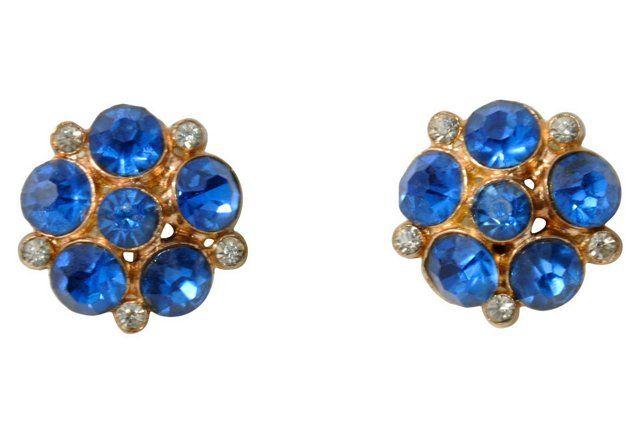 Cobalt-Blue Rhinestone Cluster Earrings