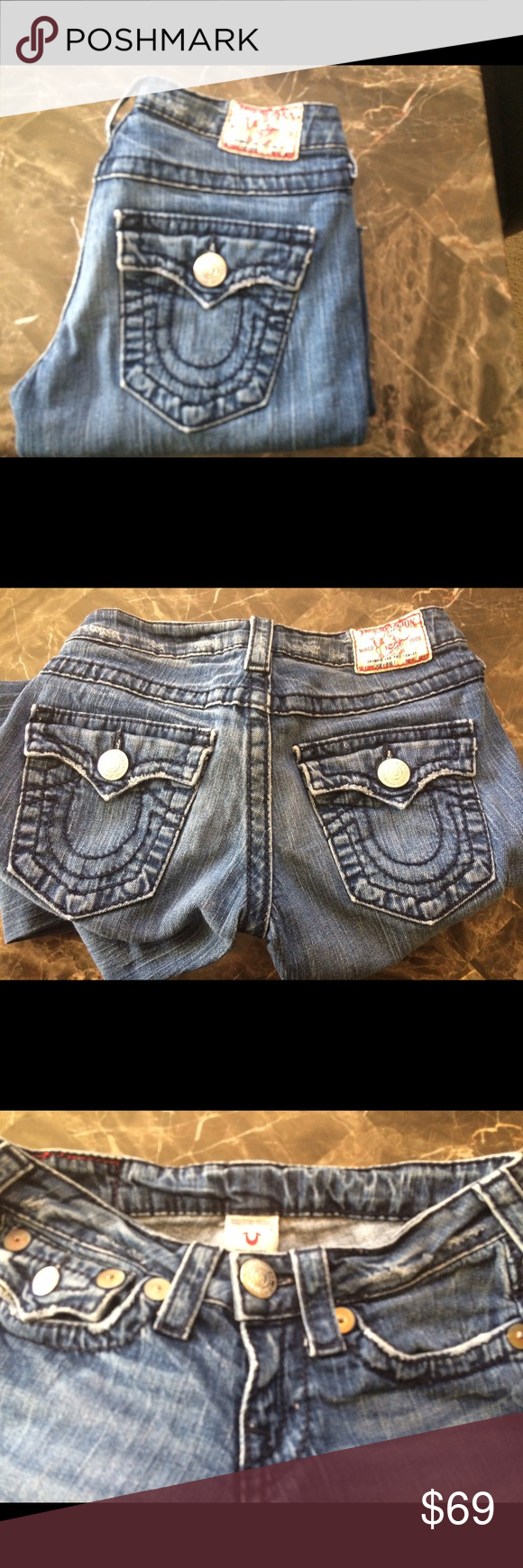 """True Religion Joey Big T flare leg jean size 25 True Religion Joey Big T flare leg jean size 25 inseam 29"""" and rise 6"""" (frayed hems) True Religion Jeans Flare & Wide Leg"""