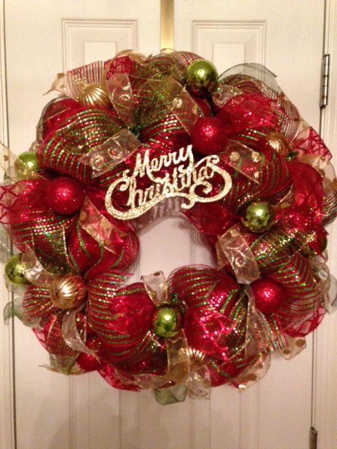 for sale merry christmas mesh christmas wreath on etsy pinksugarplumcottage christmas. Black Bedroom Furniture Sets. Home Design Ideas