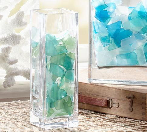 Fill Vases Or Clear Lamps With Seaglass For A Pop Of Color. The Ariel Glass