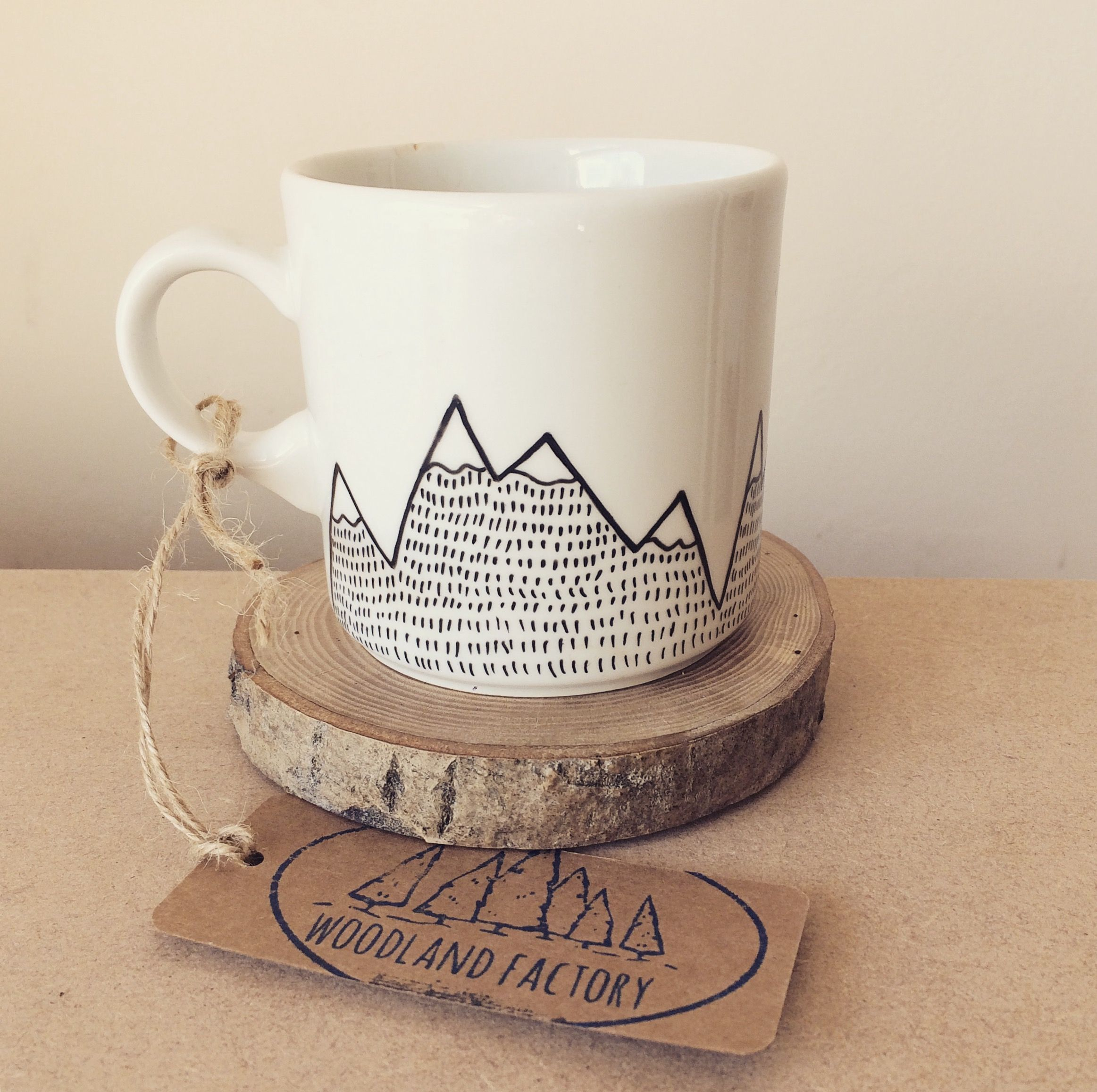 European Mountain Goat Mug - hand painted illustrated quirky chamois ...