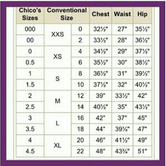 Chico s size chart because chico s wants to be different chico s