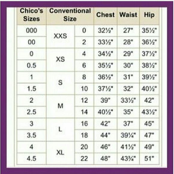 Chico s size chart my posh closet pinterest chart discount